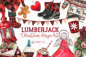 Christmas clipart. Buffalo plaid