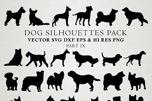 Dog Silhouettes Vector Pack 9