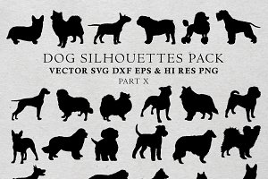 Dog Silhouettes Vector Pack 10
