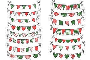 Christmas doodle bunting clip art