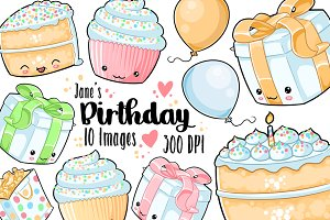 Kawaii Rainbow Birthday Clipart