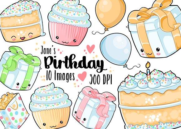 Kawaii Rainbow Birthday Clipart