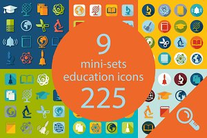 9 EDUCATION sets of icons