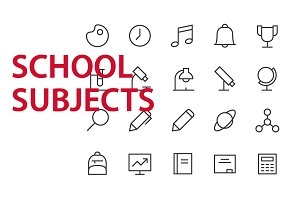 20 School Subjects UI icons