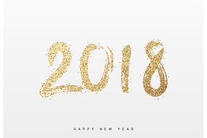 2018 New Year. Text golden with bright sparkles