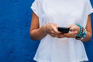 Woman using mobile device