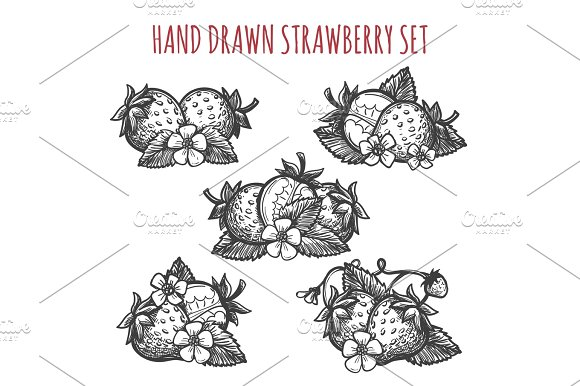 Strawberry sketch icons set in Illustrations