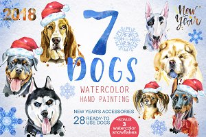 Watercolor dogs. New Year's set