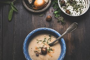 Chestnuts creamy soup bowl , rustic