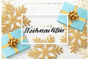 Christmas background with gifts box and shining snowflakes