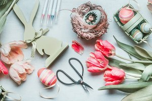 Easter preparation flat lay