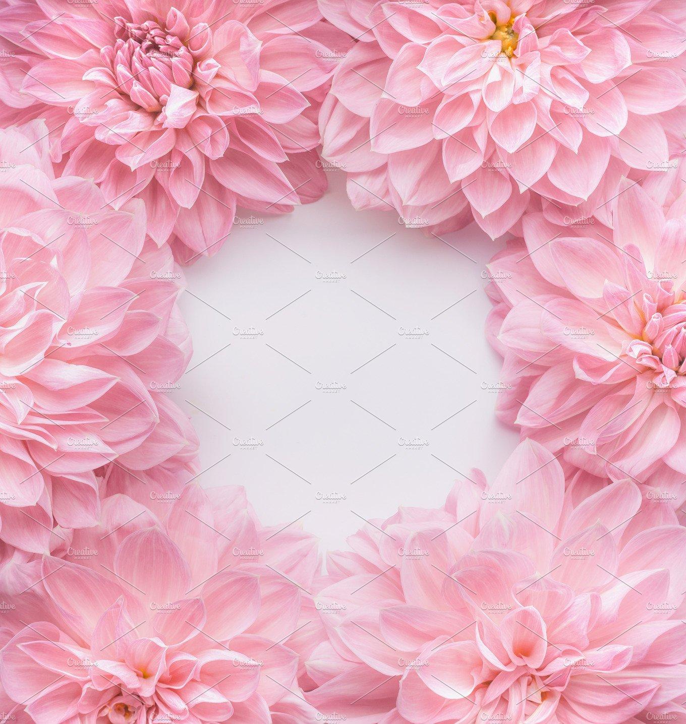 Creative Pastel Pink Flowers Frame Arts Entertainment Photos Market
