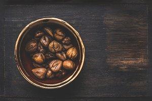 Roasted peeled chestnuts, rustic