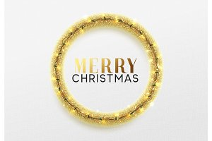 Christmas background.  Golden wreath