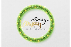Christmas background. Green wreath