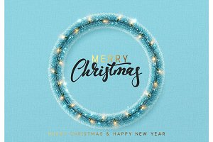 Christmas background. Blue wreath