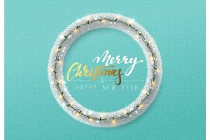 Christmas background. Silver wreath