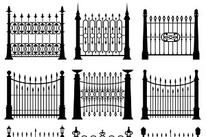 Iron gates and fences set