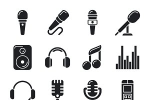 Studio microphones, music icons