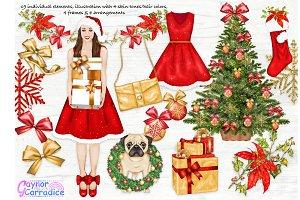 Christmas Fashion Clipart set