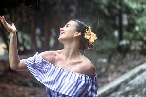 girl happy rain