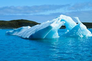 Lagoon Jokulsarlon, glacial lake and icebergs Iceland