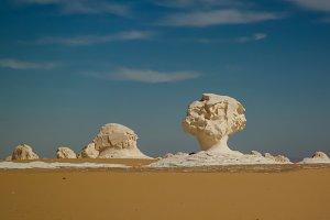 Abstract nature sculptures in White desert, Sahara Egypt