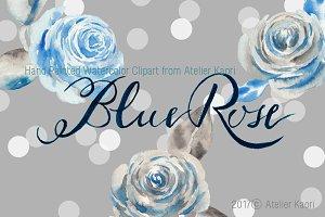 Vintage Blue Rose Clipart