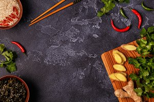 Ingredients of asian spicy food