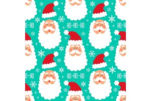 Cute childish winter seamless pattern with hand drawn Christmas elements as Santa Claus face and snowflakes background