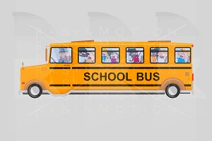 Children into school bus