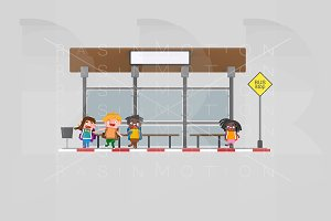 Children in bus stop