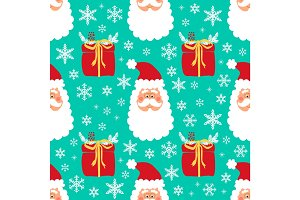Cute childish winter seamless pattern with hand drawn Christmas elements as Santa Claus face, gift boxes and snowflakes