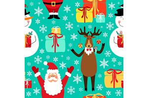 Cute winter childish seamless pattern with hand drawn Christmas cartoon characters as Santa Claus, Reindeer and Snowman