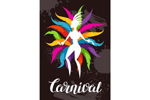 Carnival party background with samba dancer and colorful decorative feathers