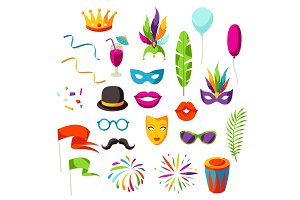 Carnival party set of celebration icons, objects and decor