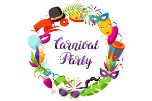Carnival party frame with celebration icons, objects and decor