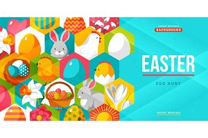 Easter creative flyer. Vector illustration