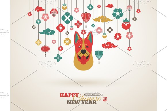 2018 chinese new year greeting card with dog head illustrations