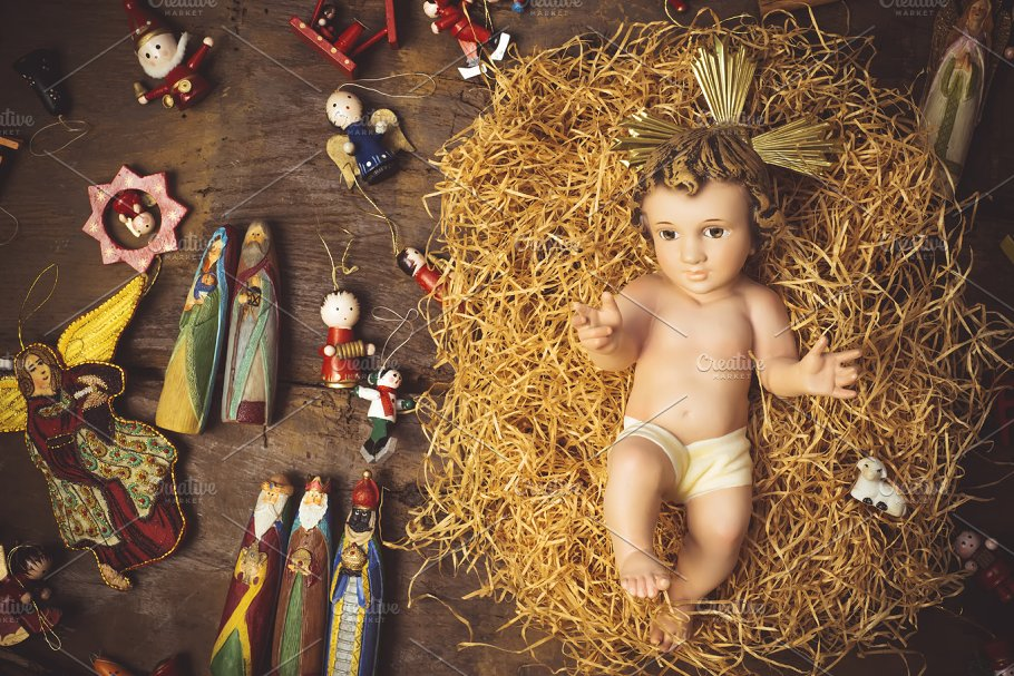 Baby Jesus Christmas cards. ~ Holiday Photos ~ Creative Market