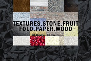Textures Stone Fruit Fold Paper Wood