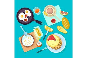 Fresh healthy breakfast food and drinks top view isolated on blue backgraund
