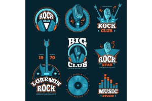 Music studio production vector labels. Musical badges with guitars and microphones
