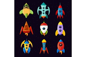Cartoon spaceships, rocket and futuristic spacecraft vector set