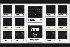 2018 calendar mockup in photo frames