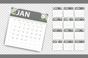 2018 calendar in paper stickers