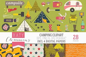 Camping clip art pack with papers