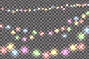 Colored realistic Christmas lights