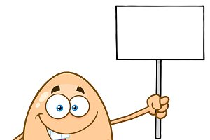 Egg Character Holding A Blank Sign