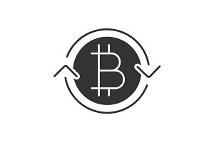 Bitcoin exchange glyph icon